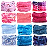 KALILY 12PCS Headband Bandana - Versatile FLOWER Sports & Casual Headwear –Multifunctional Seamless Neck Gaiter, Headwrap, Balaclava, Helmet Liner, Face Mask for Camping, Running, Cycling, Fishing etc