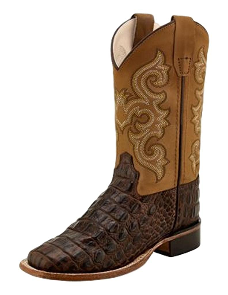 Toddler//Little Kid Old West Kids Boots Unisex Brown Croc Print Square Toe Boot