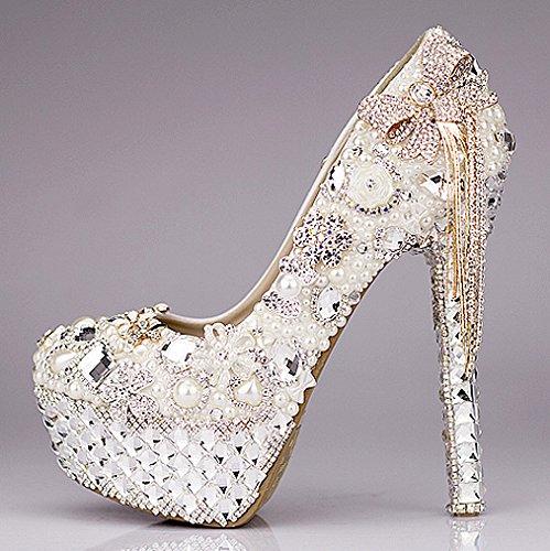 Si& Hochzeitsschuhe der Frauen / Prinzessin und Braut / Bowknot / Stilett-Ferse / runde Zehe Wasserdichte Plattform / High-heels Sandalen / Luxuriöse Kristallschuhe 10CM