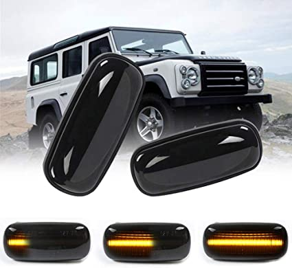 Pair Dynamic LED Side Repeater Indicator Light Fit Land Rover Discovery Defender
