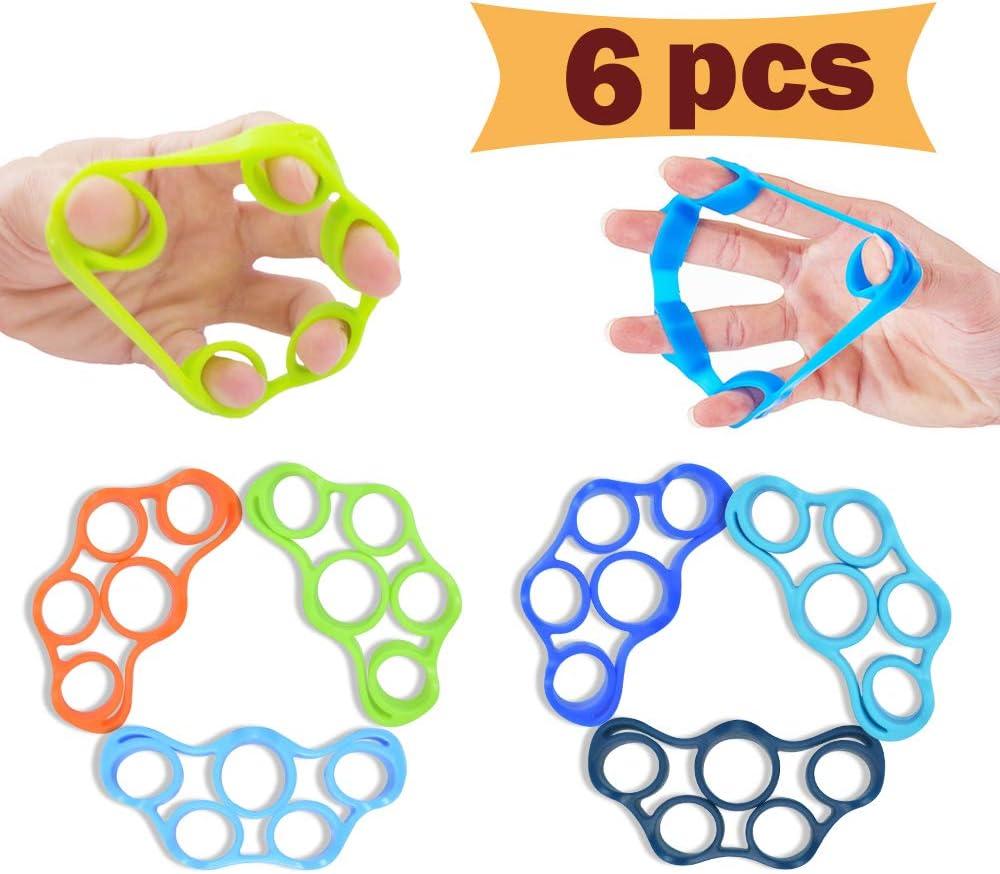 8Hole silicone hand grip strengthener finger extensor exerciser wrist trainin JB