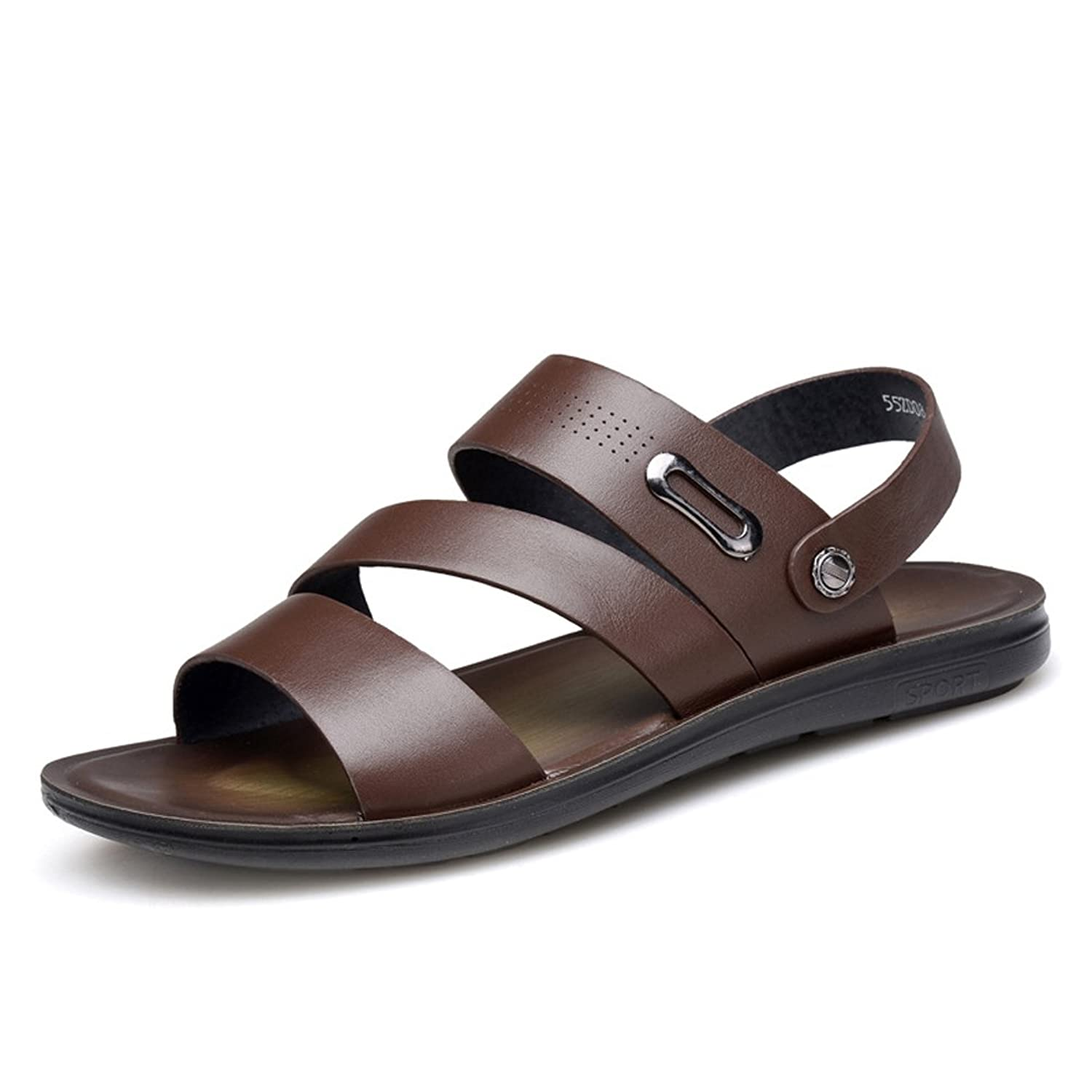 AFS JEEP Men's Open Toe Wide Strap Cross Leather Dress Sandal - Click Image to Close