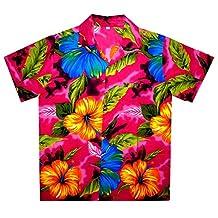 Funky Hawaiian Shirt Men Short Sleeve Front-Pocket Big Flower Multiple Colors