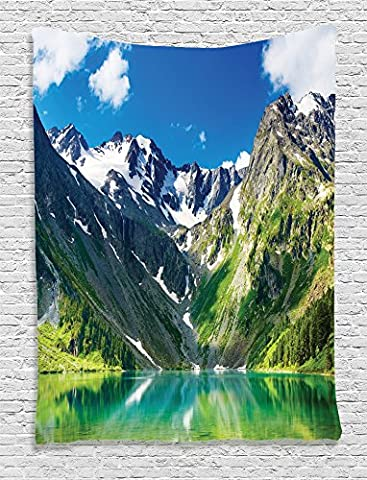 Ambesonne Cottage Decor Collection, Restful Majestic Lake in Altai Mountains with Snowy Peaks and Wooded Skirts Sky View, Bedroom Living Room Dorm Wall Hanging Tapestry, Lime Green White Blue