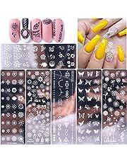 Nail Art Tools, 6 stuks Nail Art Stamper, Manicure Template, Nail Stencils, Europees en Amerikaans Retro, Duurzaam, Bloemen, Sneeuwvlokken, Butterflies, Dandelion, Gebruikt voor Nail DIY Decoratie