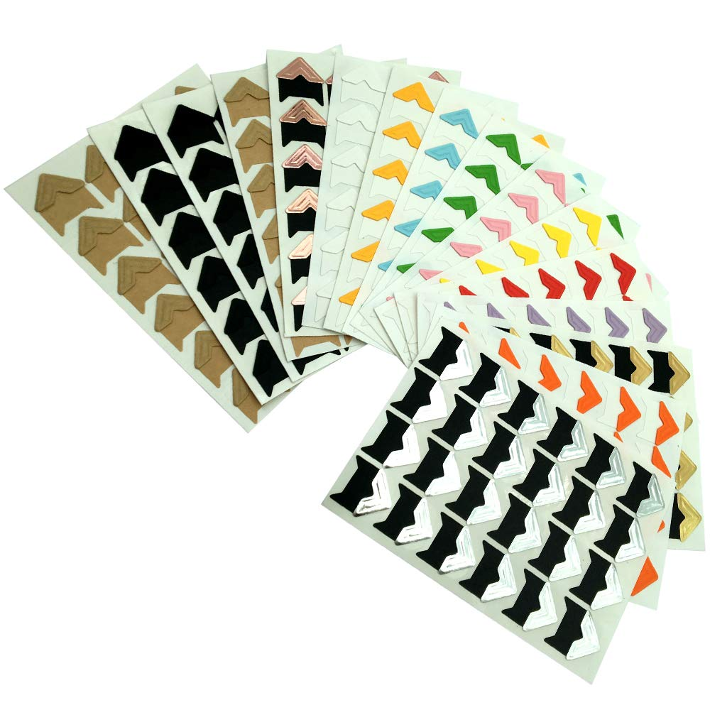 CKANDAY 16 Sheets Photo Mounting Corners, Multi-color Self Adhesive Creative DIY Paper Picture Stickers for Scrapbook Album Personal Journal Dairy Organizer Notebook -14 Colors