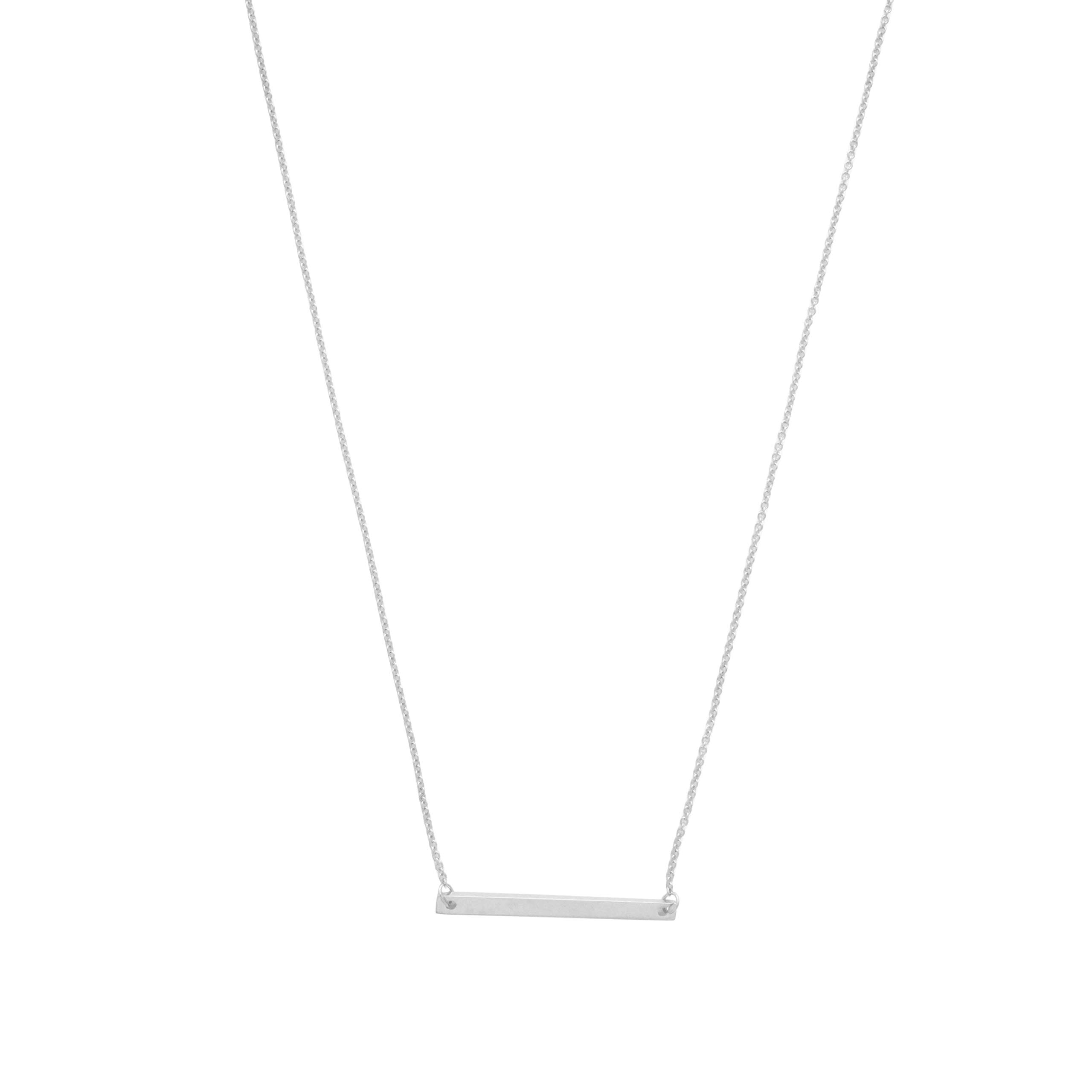 HONEYCAT 24k Gold Plated, 18k Rose Gold Plated, or Silver Classic Horizontal Bar Necklace | Minimalist, Delicate Jewelry (Silver)