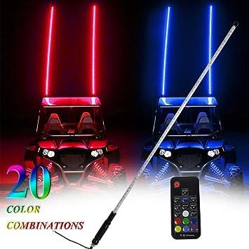 6ft UTV LED Whip Lights Remote Control Antenna Flag for ATV RZR Buggy Off Road