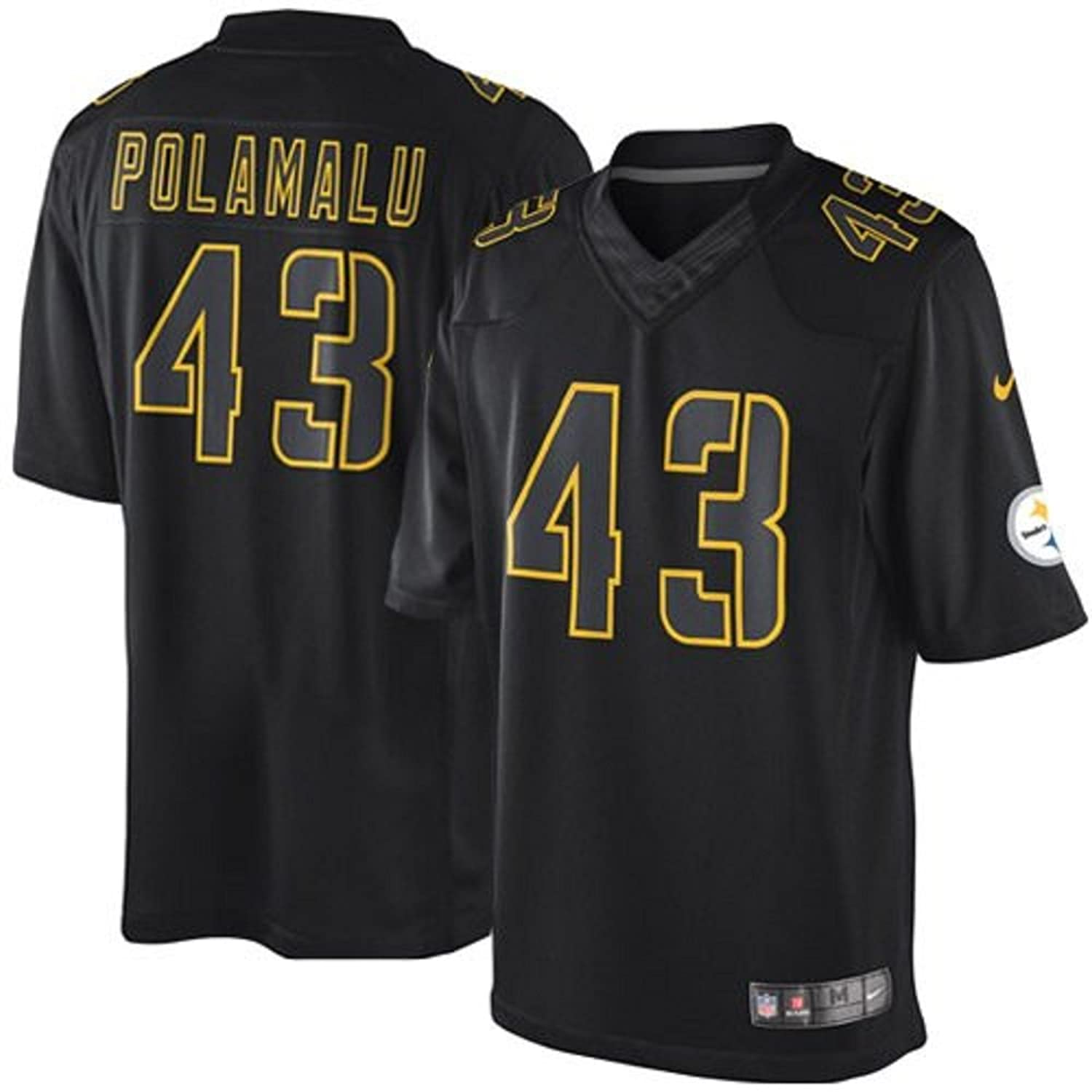 16cab7aa9ff lovely Troy Polamalu Pittsburgh Steelers Black NFL Youth Nike Lights Out  Premier Jersey