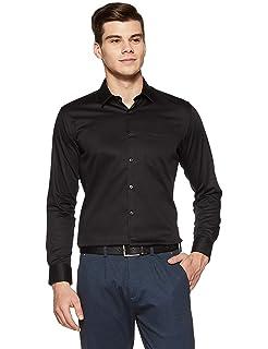 62acff96e2 AKAAS Men s Checkred Slim Fit Formal Shirt Black  Amazon.in ...