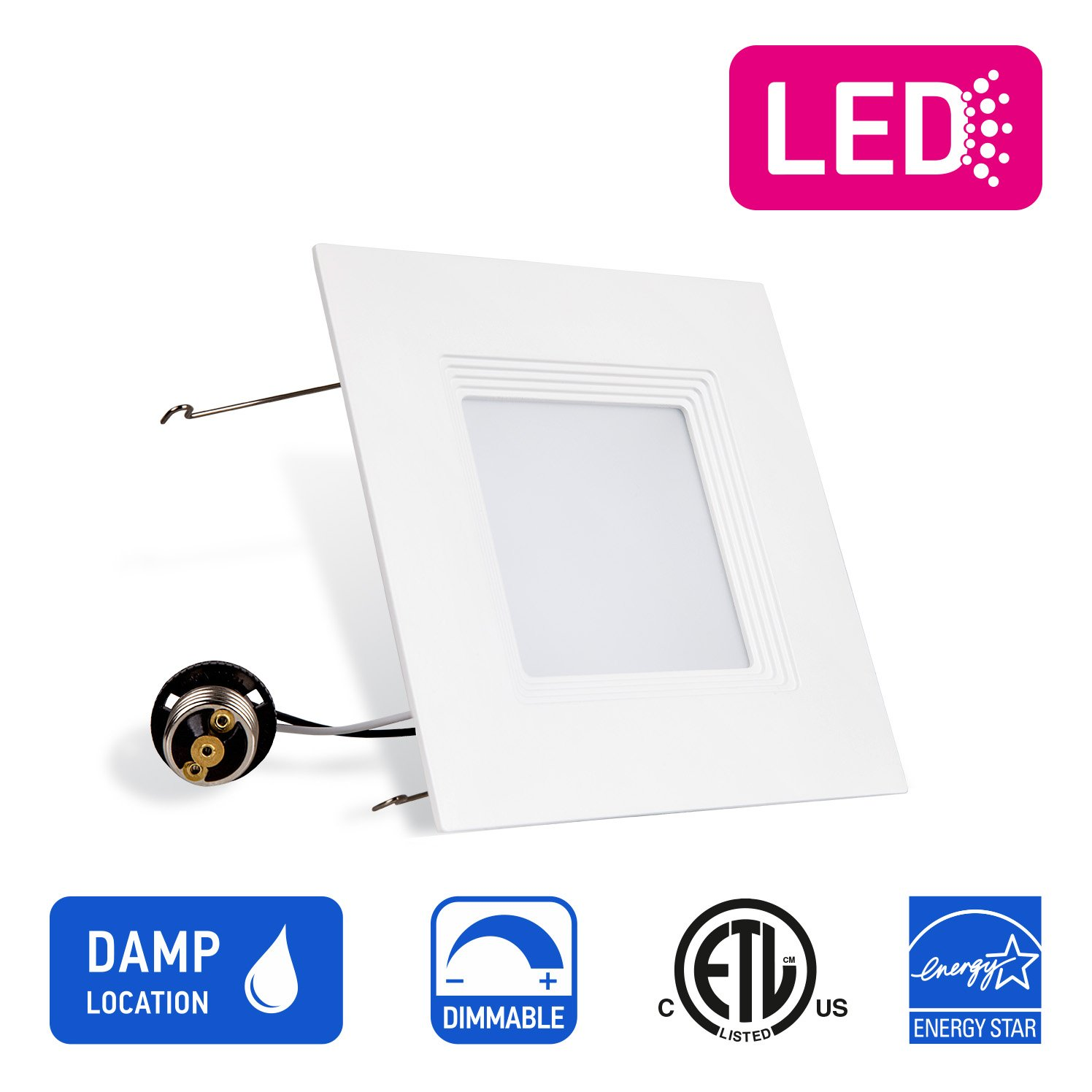 OSTWIN Recessed Lighting, Led 6-inch Can Pot Lights for Ceiling, Square Downlight Retrofit Kit Fixture, Baffle Trim, 16.5W (120 Watt), 5000K (Daylight) Dimmable, ETL & Energy Star Listed