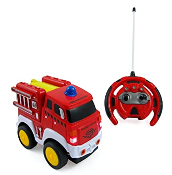 rc fire engine truck radio control toy car for kids with steering wheel remote