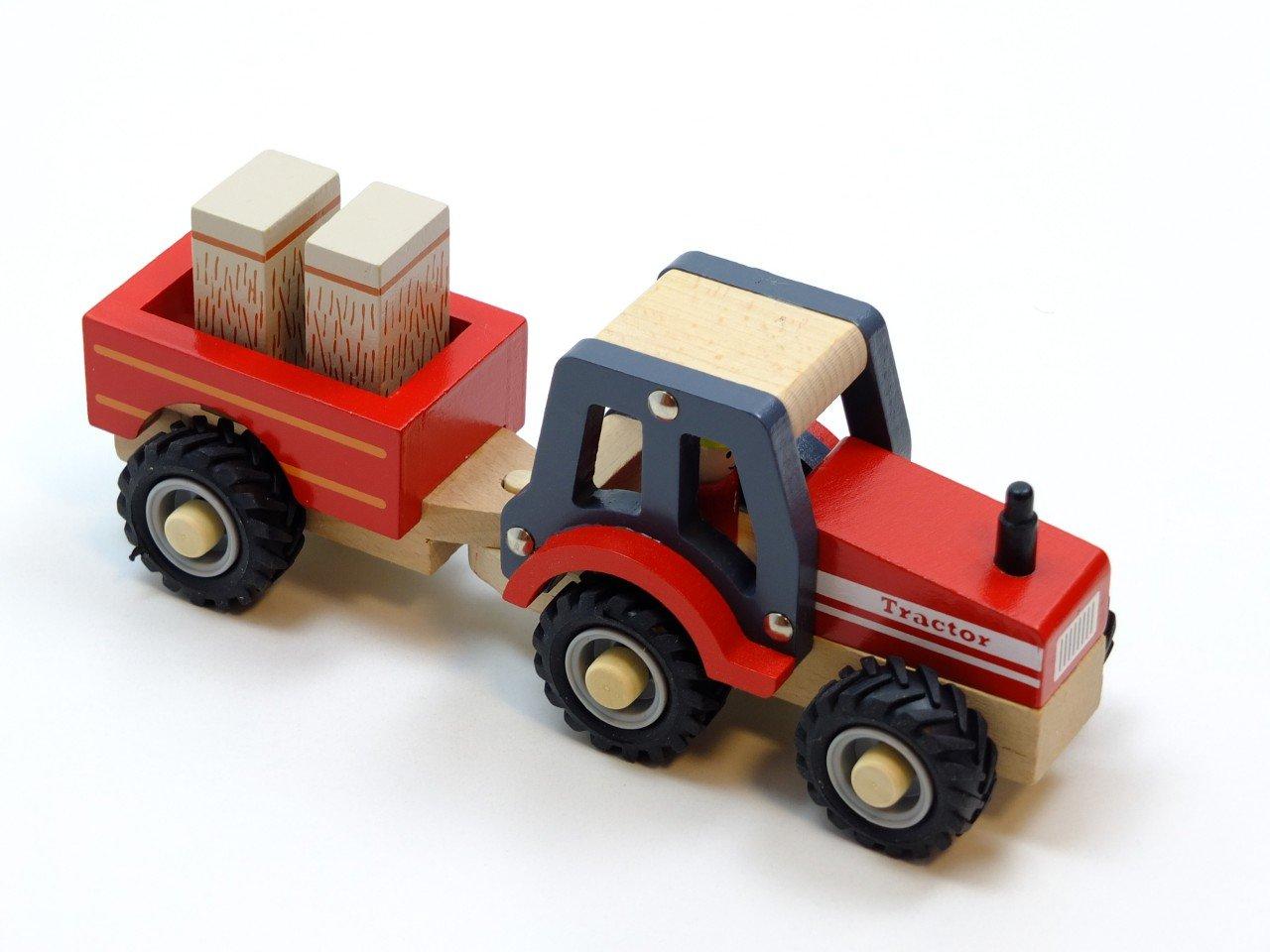 New Classic Toys 11943 Traktor mit Anhänger und Heuballen Bauernhof