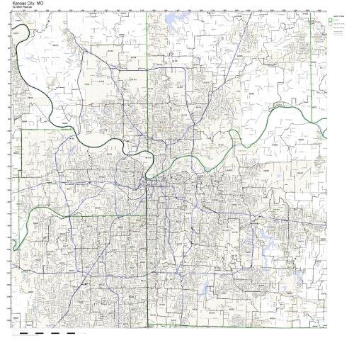 Kansas City, MO ZIP Code Map Laminated by Working Maps