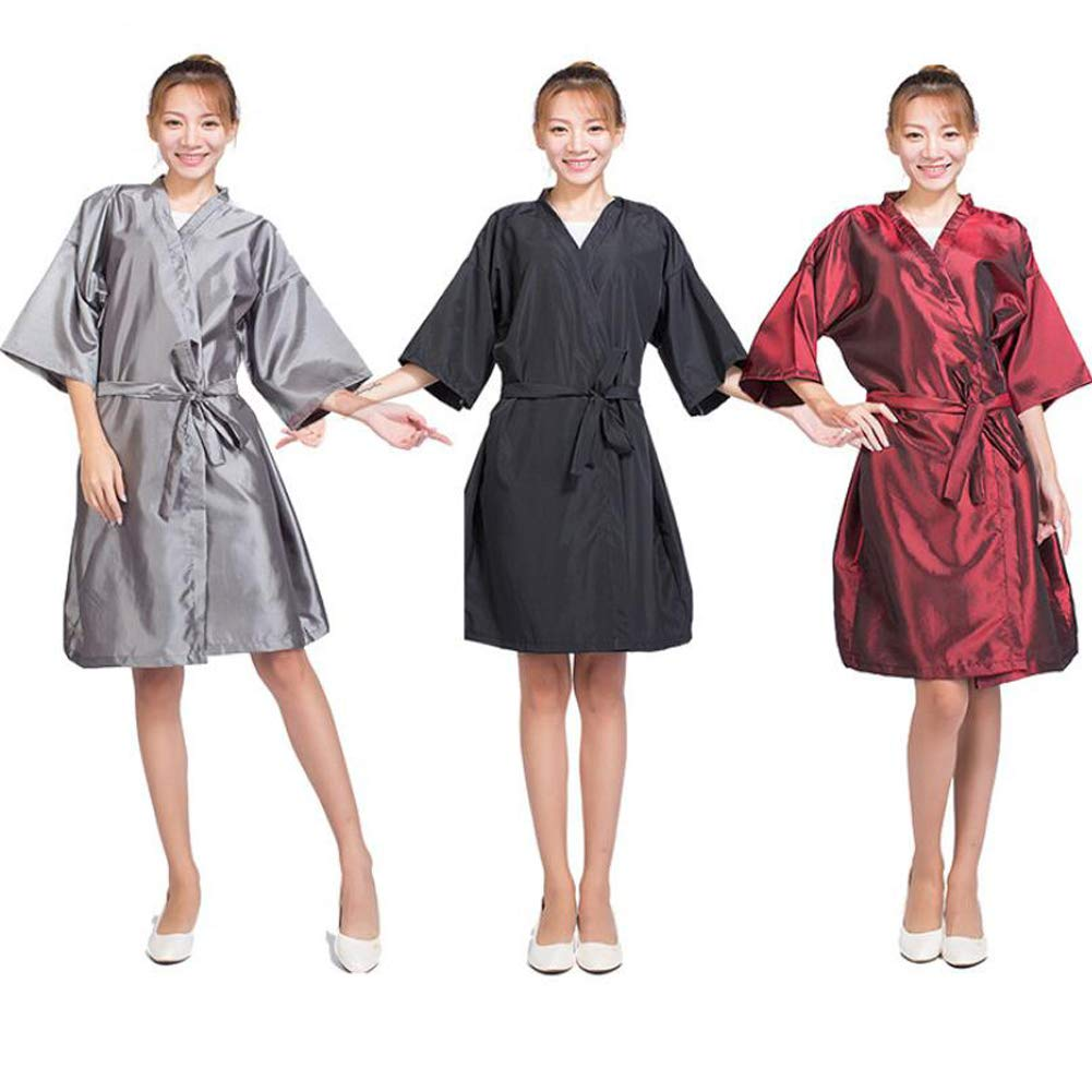Case of 10 Packs, Kimono Style Salon Client Gown Robes Salon Smock Black by Lanburch (Image #4)