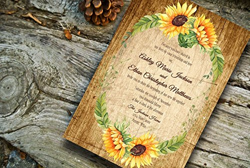 Fall Wedding invitations/Sunflower Wedding Invitations/Sunflower wedding invite/Wedding invitation and RSVP cards/personalized invitations (pack of 10)