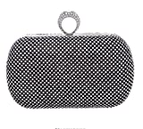 Bagood Women's Shining Rhinestones Square Shape Knuckles Evening Bag Hard Case Clutches Purses