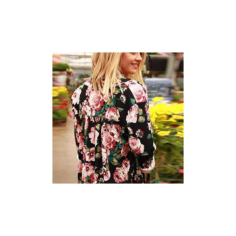Hmlai Hot Sale Women Long Sleeves Women Boho Print Floral Loose Shawl Kimono Cardigan Top Cover up Shirt Blouse