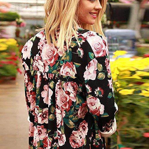 Hot Sale! Hmlai Women Long Sleeves Women Boho Print Floral Loose Shawl Kimono Cardigan Top Cover up Shirt Blouse