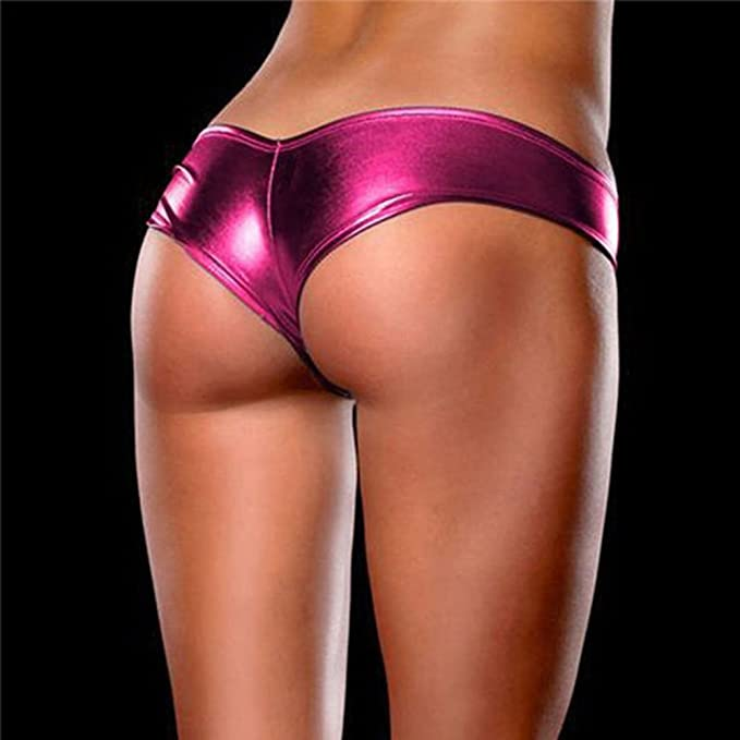 e525b2446 Seazhio Glamour Sexy Intimates for Women Ladies V-String Underwear Metallic Lingerie  Panties Knickers G-String Micro Thong at Amazon Women s Clothing store