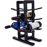 Sorbus Bamboo Wine Rack – Holds 12 Bottles of Your Favorite Wine – Sleek and Chic Looking Wine Rack (Black)