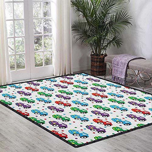 (Cars Non Slip Absorbent Carpet,Children Baby Boy Toy Figures Pattern with Dots Number Five Cars for Joyous Play Time Decor Carpet Popular Colors Multicolor 47