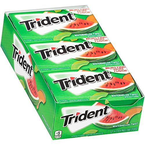 Watermelon Bubble Gum - Trident Watermelon Twist Sugar Free Gum - with Xylitol - 12 Packs (168 Pieces Total)