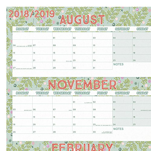 Boxclever Press 2018-2019 Academic Wall Planner Home Or