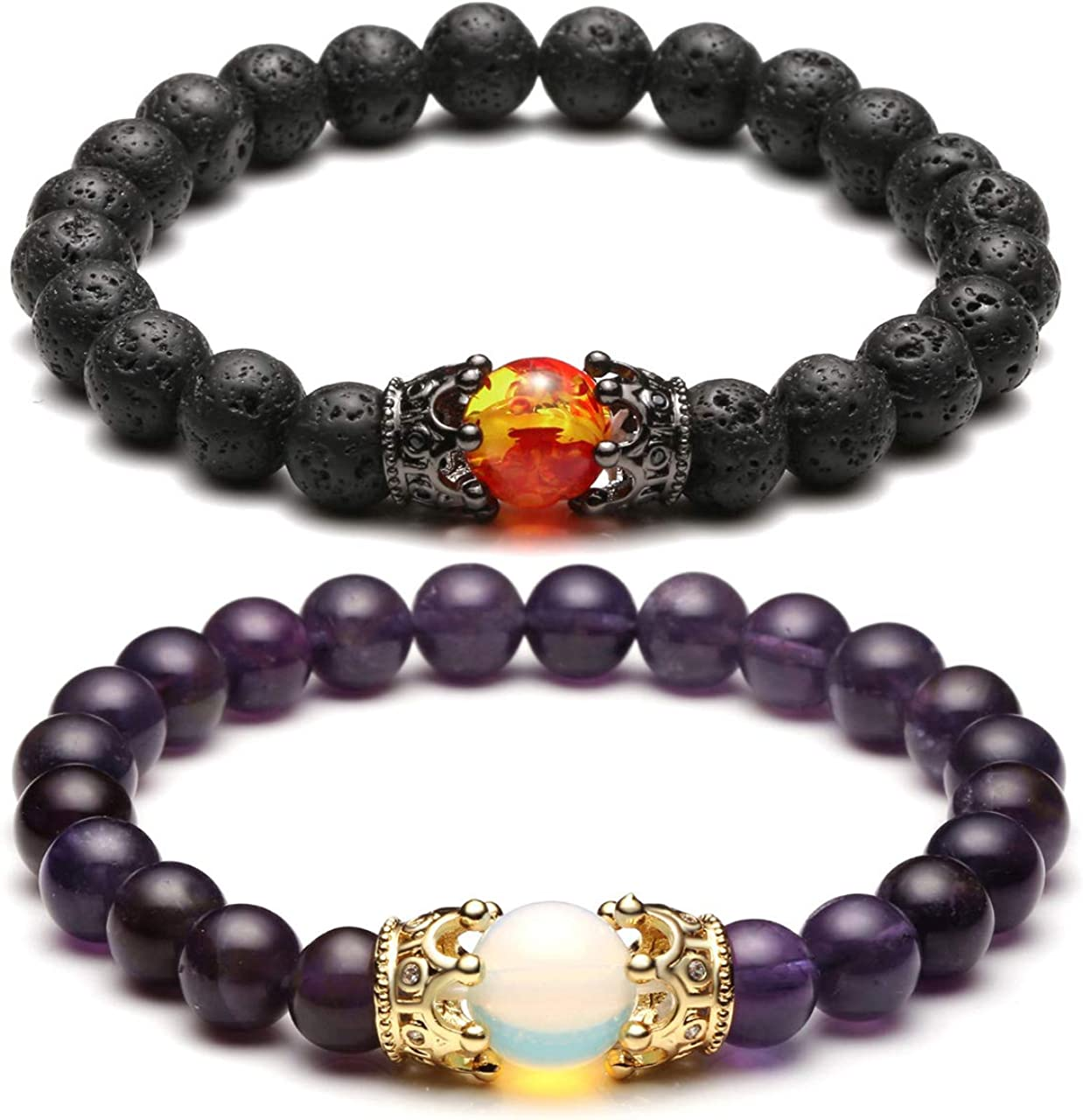 UEUC King/&Queen Crown Distance Couple Bracelets His and Her Friendship 8mm Beads Bracelet