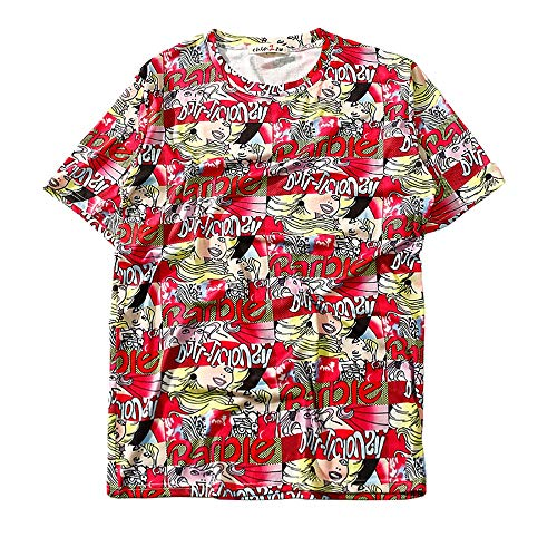 YKARITIANNA Spring New Harajuku Girl Head Printed Loose Round Collar Short Sleeve T-Shirt Red