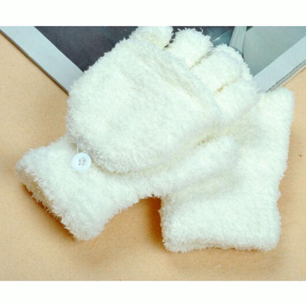 HuaYang–Mode Unisex Otoño Invierno Media dedos Flip sin dedos Guantes 1par (Color Blanco)