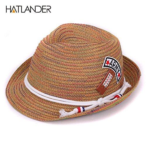 Lavenz Kids sun hats girls boys jazz trilby caps toddler summer hat floppy panama  hat children d5e691ebee96