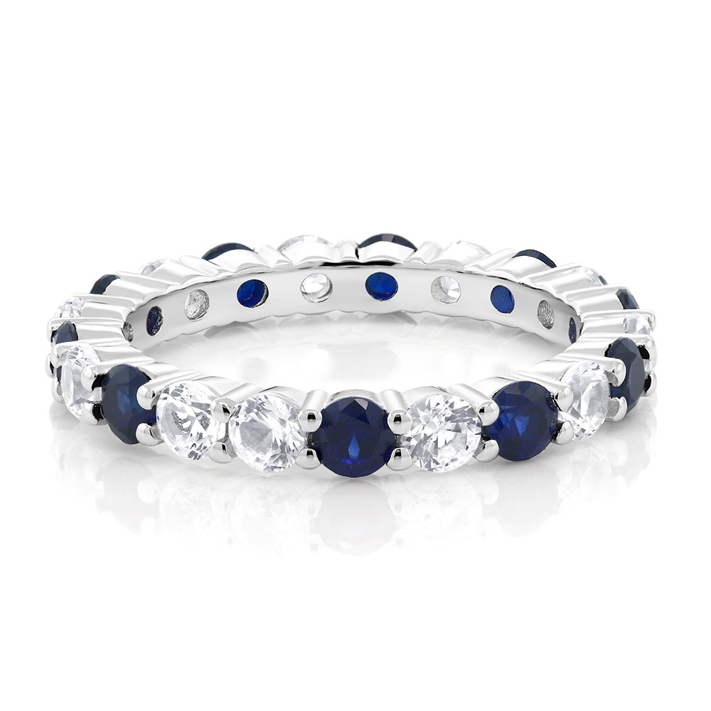 2.20 cttw Round Cut Available 5,6,7,8,9 Gem Stone King Sterling Silver Blue and White Created Sapphire Womens Eternity Wedding Band Ring