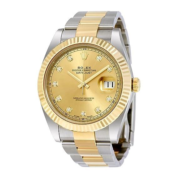 Rolex 12633CDO - Reloj de pulsera para hombre Datejust 41 con esfera de acero y oro