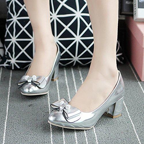 Carolbar Womens Bowknots Beaded Bridal Mid Heel Pumps Dress Shoes Silver bbRiGAICa