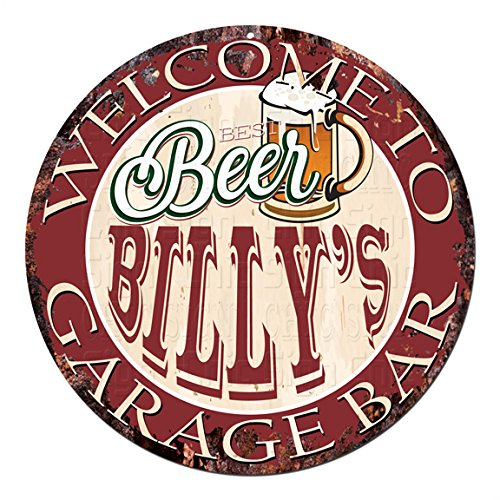 (Welcome to Best Beer BILLY'S GARAGE BAR Chic Tin Sign Rustic Shabby Vintage style Retro Kitchen Bar Pub Coffee Shop man cave Decor Gift Ideas)