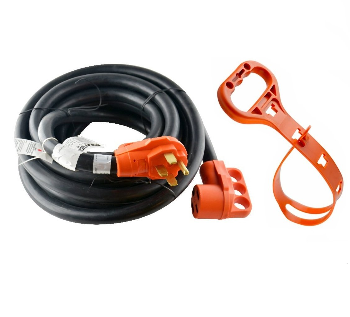 Power TechON RVC3008 30' 50 Amp RV Extension cord w/ Molded Connector and Handles- 50A Male to 50A Female
