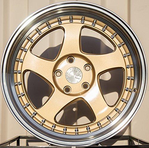 Aodhan Wheels AH-01: 15x8, 4x100, 73.1, 20, ((FITS 100&114.3mm HUB BORE) GOLD MACHINED LIP)