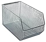Quantum Storage Systems QMB540C Ultra Wire Mesh Stack and Hang Bins, 14-1/2'' x 8'' x 7'', Chrome (Pack of 10)