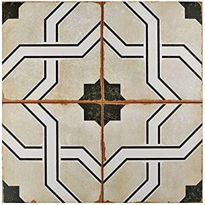 "SomerTile FPECORDO Argentina Ceramic Floor and Wall Tile, 17.625"" x 17.625"", Beige/Brown/White/Black"