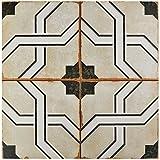 SomerTile FPECORDO Argentina Ceramic Floor and Wall Tile, 17.625'' x 17.625'', Beige/Brown/White/Black