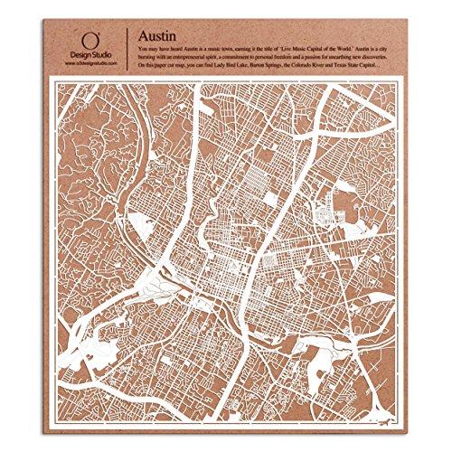 Austin Paper Cut Map by O3 Design Studio White 12x12 inches Paper Art ()