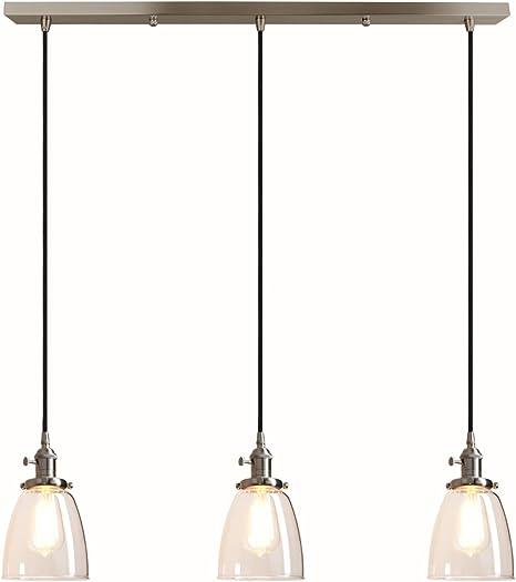 1 Light Hanging Pendant Mini Ceiling Lighting Clear Glass Shade Polished Chrome