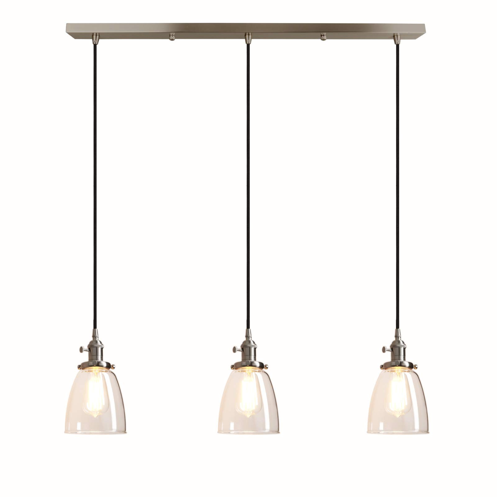 Pathson Industrial 3-Light Pendant Lighting Kitchen Island Hanging Lamps with Oval Clear Glass Shade Chandelier Ceiling Light Fixture (Brushed Steel) by Pathson (Image #1)