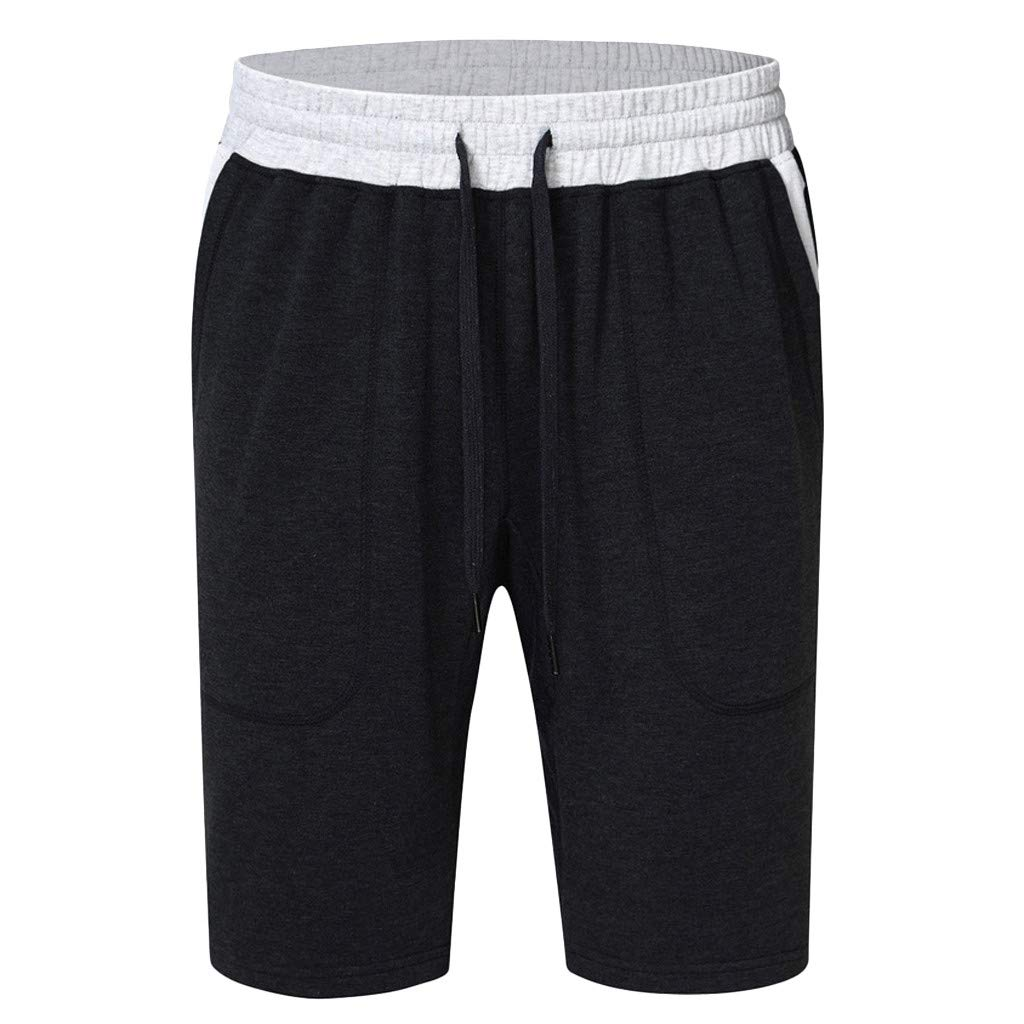 GREFER Men's Short Pants Casual Sports Elasticated Waist Shorts Black