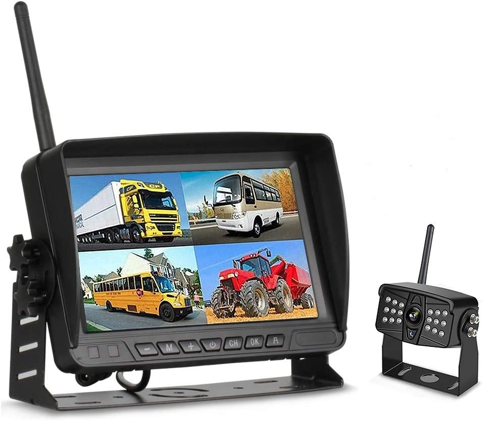 Tuo3eu Kit de Cámara de Marcha Atrás Digital Inalámbrica con 7 Pulgadas TFT LCD Monitor Señal Mejorada 2.4G + 18 LED IR Visión Nocturna Impermeable Cámara de Visión Trasera para Coche/Camión/RV