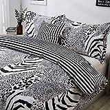Black and White Bedding Leopard Print Duvet Cover Set Queen Zebra Giraffe Leopard Tiger Stripes Print Bedding Safari Animal Print Bedding with 2 Pillow Shams