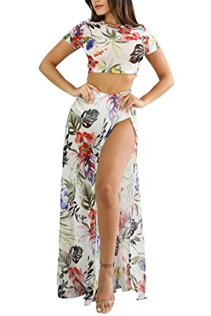 f906fd0e4e Summer Floral Print Two Piece Crop Top and Skirt Set Women High Side Slit  Skirt Maxi