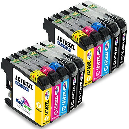 Kingway Compatible 10 Pack Brother LC103 LC101 XL Ink Cartridge Replacment for Brother MFC-J870DW MFC-J450DW MFC-J6920DW MFC-J470DW MFC-J650DW DCP-J152W MFC-J4710DW MFC-J6720DW Printer (2 Set+2BK)