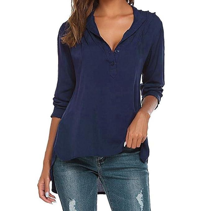 22f596320a Hffa Damen Irregulär Langarm Shirt Elegant V-Ausschnitt Tasten Slim Bluse  Frauen Casual T-